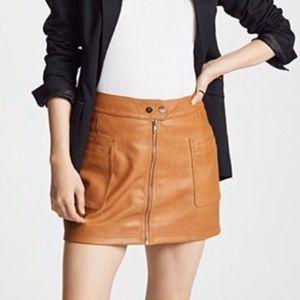 Free People A-Line Vegan Leather Miniskirt